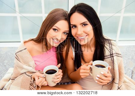 Portrait Of Happy Beautiful Women With Plaid And Hot Coffee