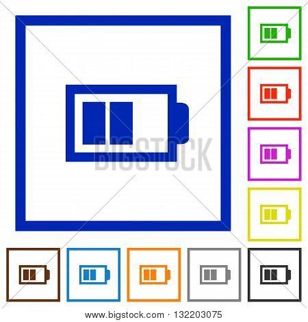 Set of color square framed half battery flat icons