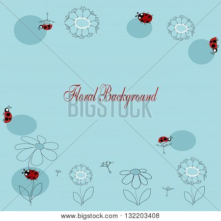 vector drawing with flowers and insects for your text