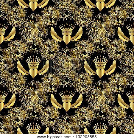Seamless pattern from gold royal crown, heart with wings and around gold vintage Persian ornament on the black background.