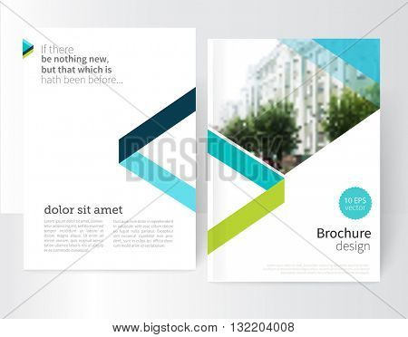 white Brochure, leaflet, flyer, cover template. Modern Geometric Abstract background blue & green triangles. minimal design concept / vector-stock EPS10