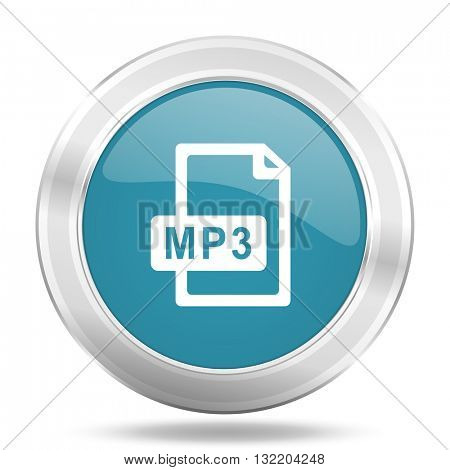 mp3 file icon, blue round metallic glossy button, web and mobile app design illustration