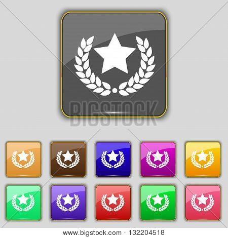 Star Award Icon Sign. Set With Eleven Colored Buttons For Your Site. Vector