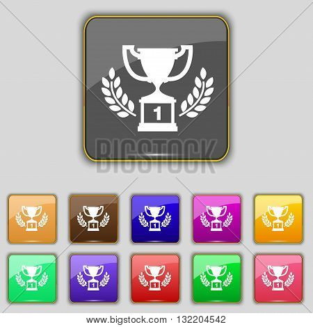 Champions Cup, Trophy Icon Sign. Set With Eleven Colored Buttons For Your Site. Vector