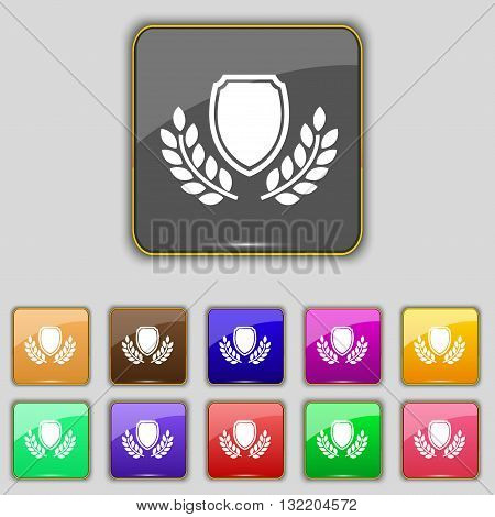 Blank Award Medal Icon Sign. Set With Eleven Colored Buttons For Your Site. Vector