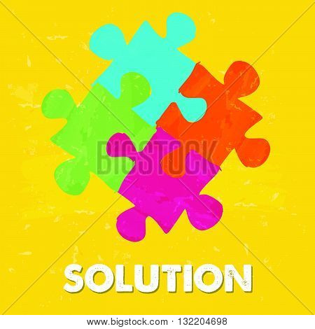 solution and puzzle pieces - text and sign in colorful grunge drawn style, business creative concept, vector