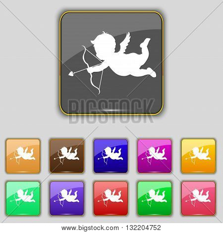Cupid Icon Sign. Set With Eleven Colored Buttons For Your Site. Vector