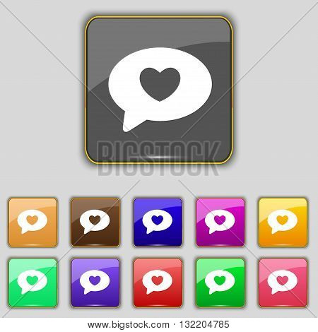 Heart Icon Sign. Set With Eleven Colored Buttons For Your Site. Vector