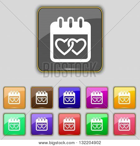 Calendar, Heart, Valentines Day, February 14, Love Icon Sign. Set With Eleven Colored Buttons For Yo