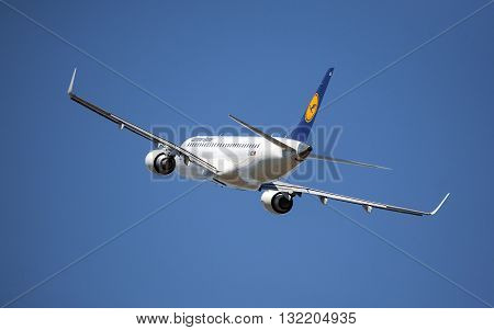 Chisinau Moldova 19 August 2014::airplane of LUFTHANSA above the Chisinau airport .Lufthansa is a German airline and also the largest airline in Europe.