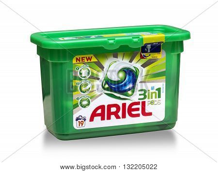 Mallorca Spain - April 19 2016: Detergent for laundry Ariel on a white background.