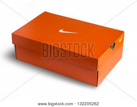 Mallorca Spain -Mai 10 2016: Red Nike shoes box isolated on white background