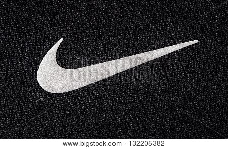 Chisinau Moldova - Mai 27. 2016:- Close up logo of sport brand NIKE printed on textile product shot