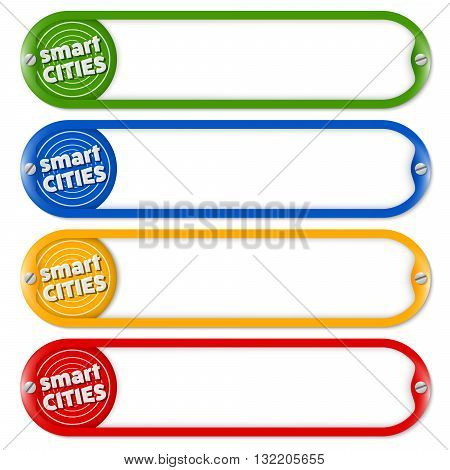 Four buttons for entering text with icon of smart cities