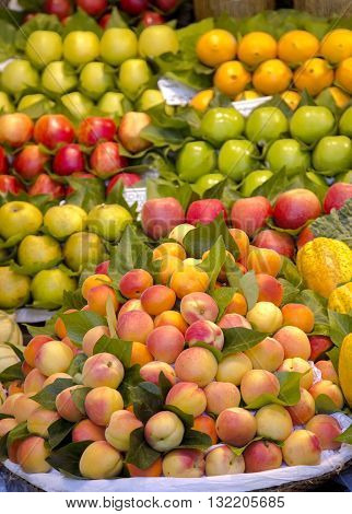 Fresh organic apricot with green leaves for sale on the La Boqueria market, Europe's largest and most famous food markets, Barcelona, Spain