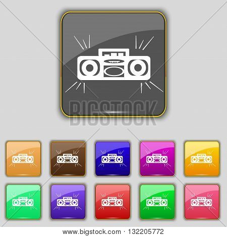 Radio Cassette Player Icon Sign. Set With Eleven Colored Buttons For Your Site. Vector