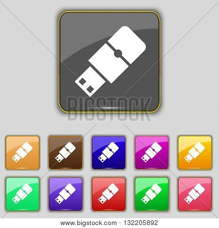 Usb Flash Icon Sign. Set With Eleven Colored Buttons For Your Site. Vector