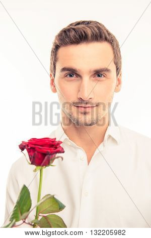 Romantic Handsome Man With A Red Rose