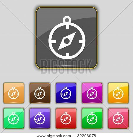 Compass Icon Sign. Set With Eleven Colored Buttons For Your Site. Vector