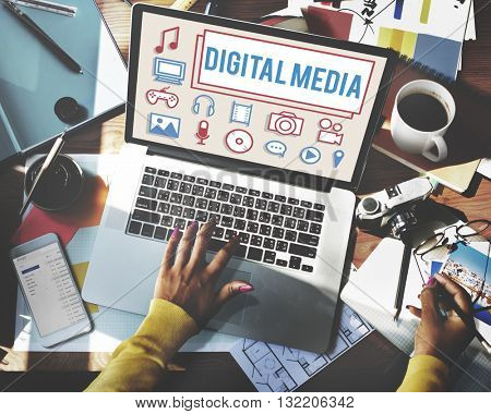 Digital Media Social Network Icons Concept