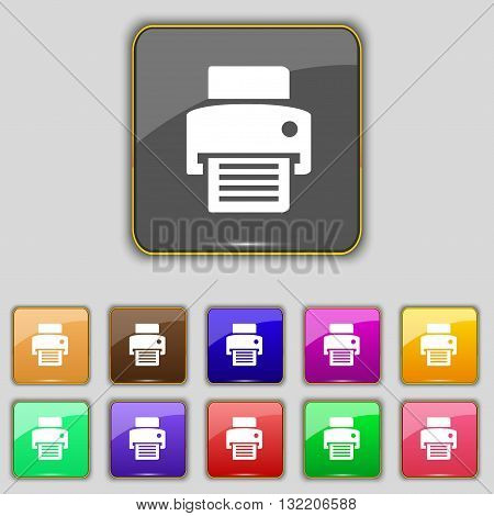 Fax, Printer Icon Sign. Set With Eleven Colored Buttons For Your Site. Vector