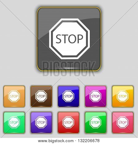 Stop Icon Sign. Set With Eleven Colored Buttons For Your Site. Vector