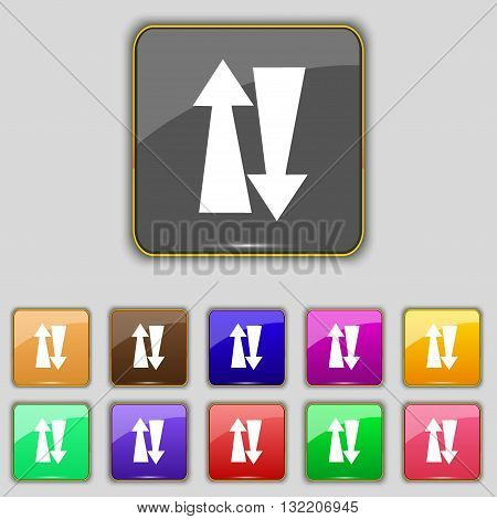 Two Way Traffic, Icon Sign. Set With Eleven Colored Buttons For Your Site. Vector