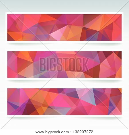 Vector Banners Set With Polygonal Abstract Triangles. Red, Brown, Purple, Orange Colors. Abstract Po