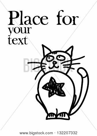 Hand drawn hero cat with place for text