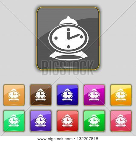 Alarm Clock Icon Sign. Set With Eleven Colored Buttons For Your Site. Vector