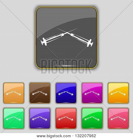 Syringes Icon Sign. Set With Eleven Colored Buttons For Your Site. Vector