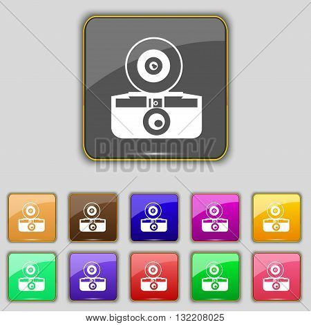 Retro Photo Camera Icon Sign. Set With Eleven Colored Buttons For Your Site. Vector