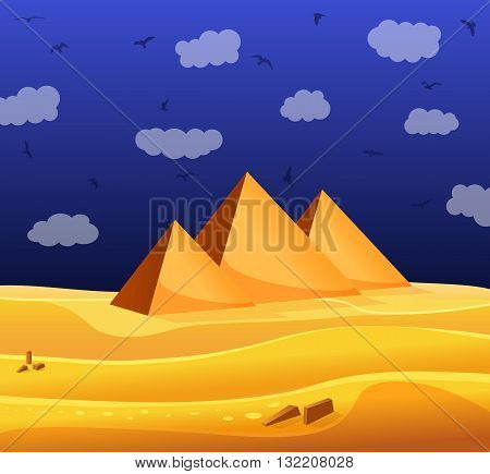 Cartoon Egyptian pyramids in the desert with blue cloudy sky and flying birds. Vector illustration