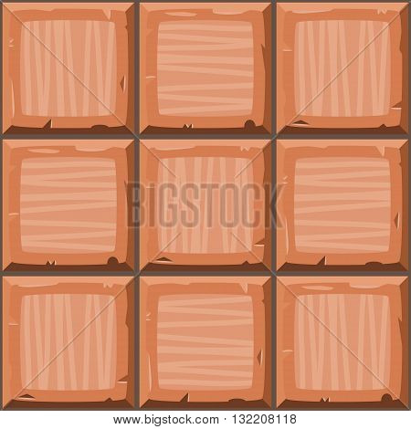 Cartoon Hand Drown Orange Seamless Decorative Old Tiles Texture. Vector Illustration
