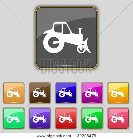 Tractor Icon Sign. Set With Eleven Colored Buttons For Your Site. Vector