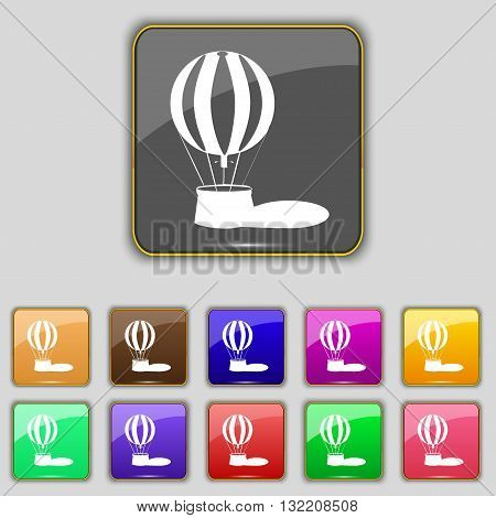 Hot Air Balloon Icon Sign. Set With Eleven Colored Buttons For Your Site. Vector