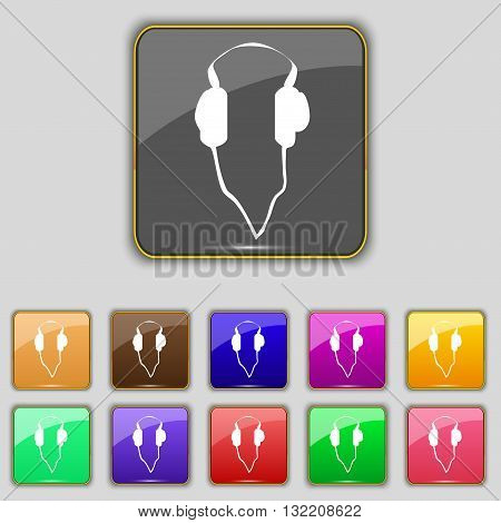 Headphones Icon Sign. Set With Eleven Colored Buttons For Your Site. Vector