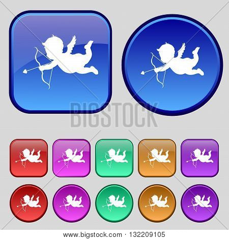 Cupid Icon Sign. A Set Of Twelve Vintage Buttons For Your Design. Vector