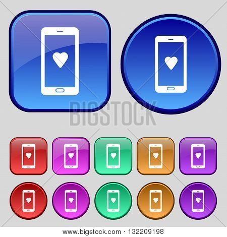 Love Letter, Valentine Day, Billet-doux, Romantic Pen Pals Icon Sign. A Set Of Twelve Vintage Button