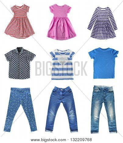 Collage of different children clothes isolated on white