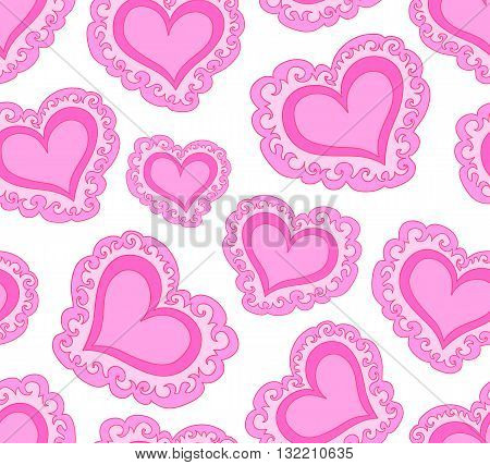 Vector seamless pattern with beautiful red abstract hearts. Endless texture. You can use any color of background