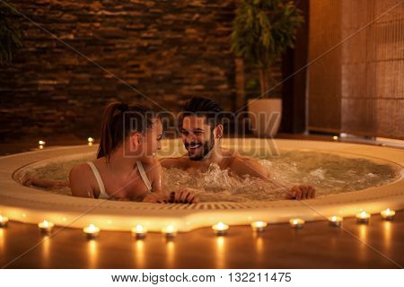 Couple enjoying perfect day at spa together.