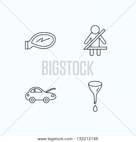 Car mirror repair, oil change and seat belt icons. Fasten seat belt linear sign. Flat linear icons on white background. Vector