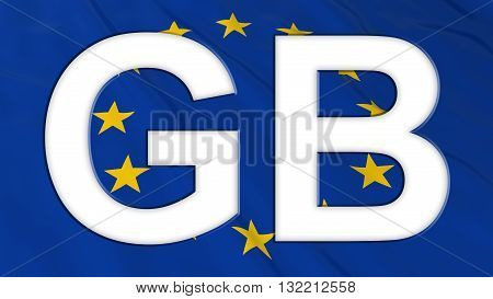 European Union Flag with Empty White GB Text cut out - 3D Illustration