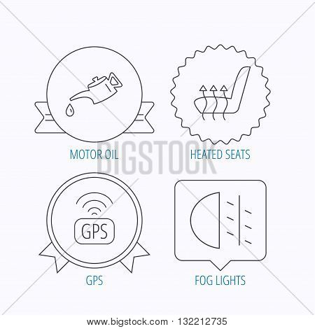 Motor oil, passing fog lights and gps icons. Heated seats linear sign. Award medal, star label and speech bubble designs. Vector