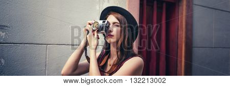 Woman Photographer Outside Street Photography Concept