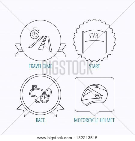Motorcycle helmet, race timer and travel time icons. Start race linear sign. Award medal, star label and speech bubble designs. Vector