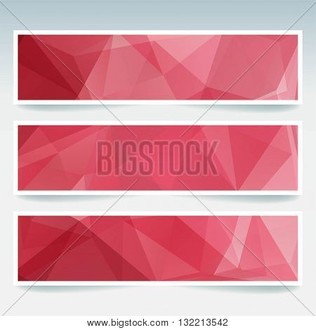 Set Of Banner Templates With Abstract Background. Red Color. Modern Vector Banners With Polygonal Ba