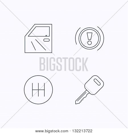 Car key, warning and manual gearbox icons. Car door, transmission linear signs. Flat linear icons on white background. Vector