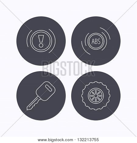 Car key, abs and wheel icons. Warning ABS, attention linear signs. Flat icons in circle buttons on white background. Vector